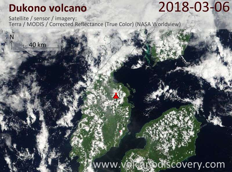 Satellite image of Dukono volcano on  6 Mar 2018