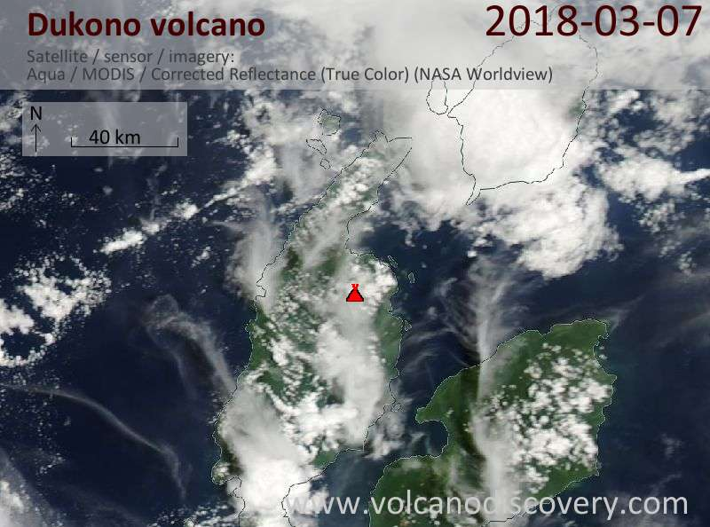 Satellite image of Dukono volcano on  7 Mar 2018