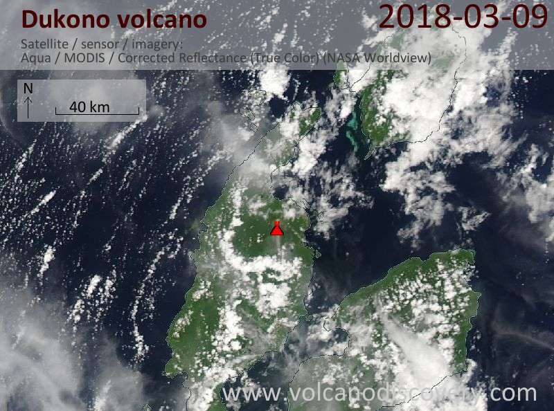 Satellite image of Dukono volcano on  9 Mar 2018