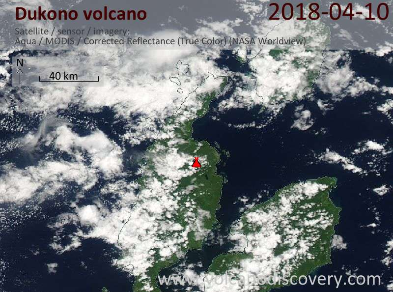 Satellite image of Dukono volcano on 10 Apr 2018
