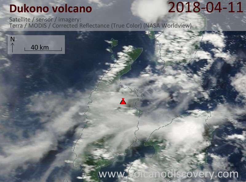 Satellite image of Dukono volcano on 11 Apr 2018