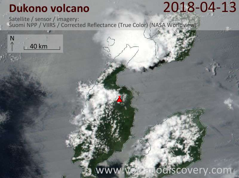 Satellite image of Dukono volcano on 13 Apr 2018