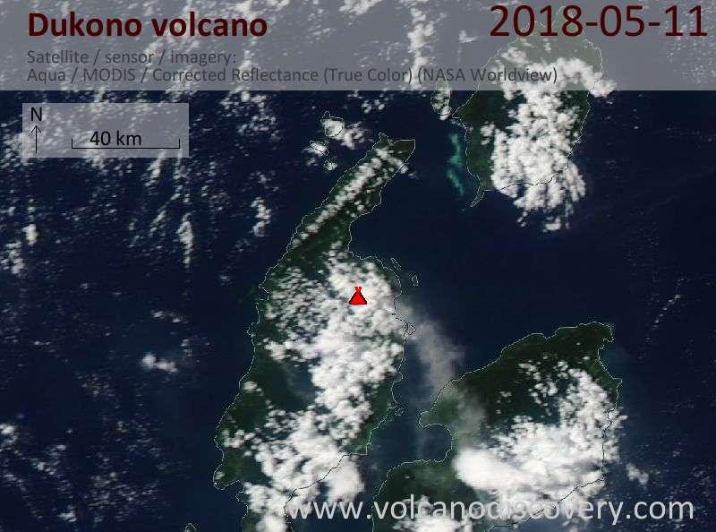 Satellite image of Dukono volcano on 11 May 2018