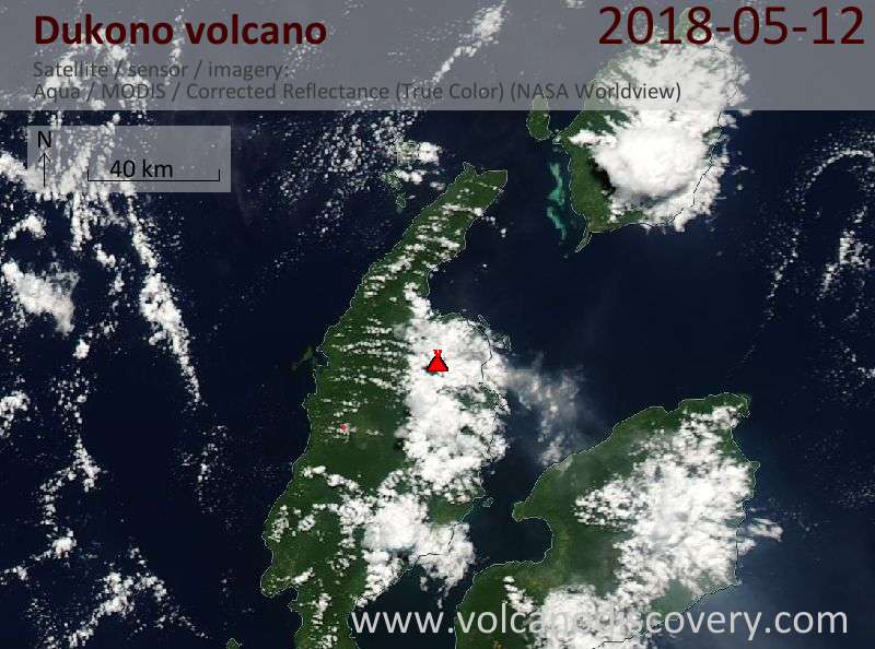 Satellite image of Dukono volcano on 12 May 2018