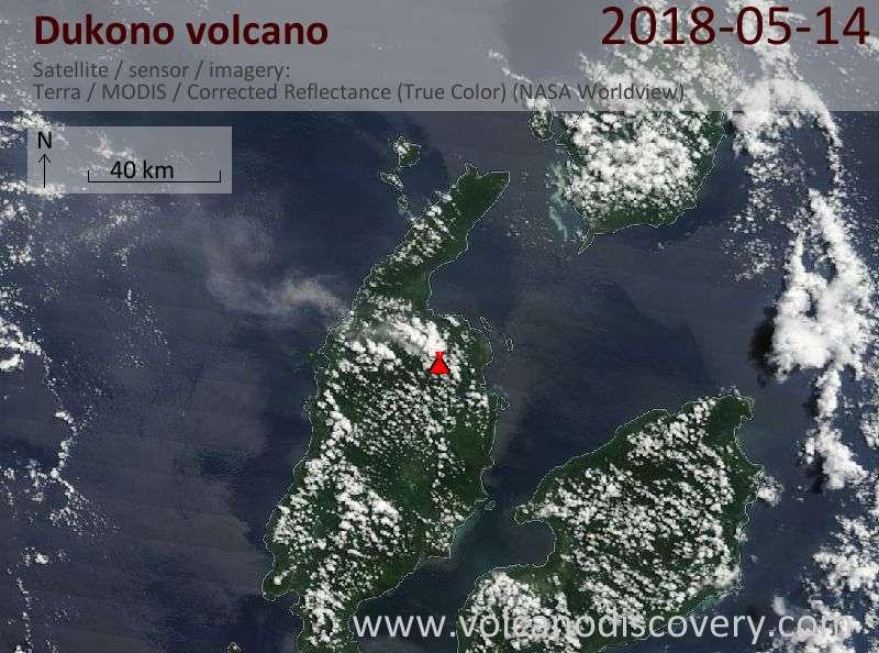 Satellite image of Dukono volcano on 14 May 2018