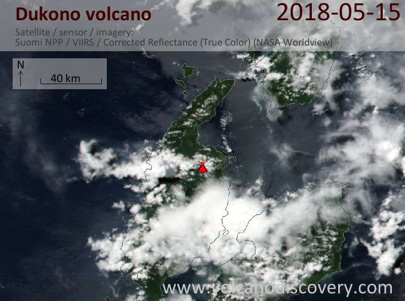Satellite image of Dukono volcano on 15 May 2018