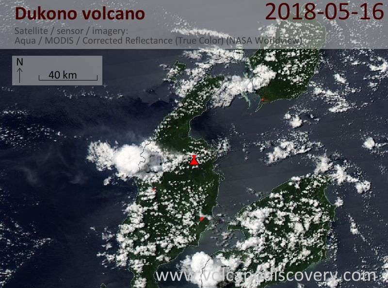 Satellite image of Dukono volcano on 16 May 2018