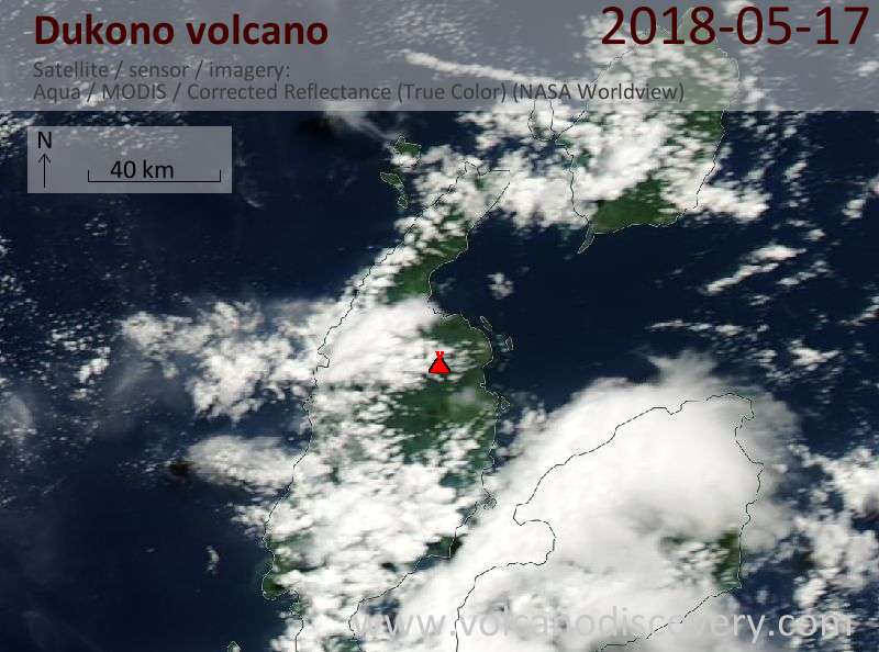 Satellite image of Dukono volcano on 17 May 2018