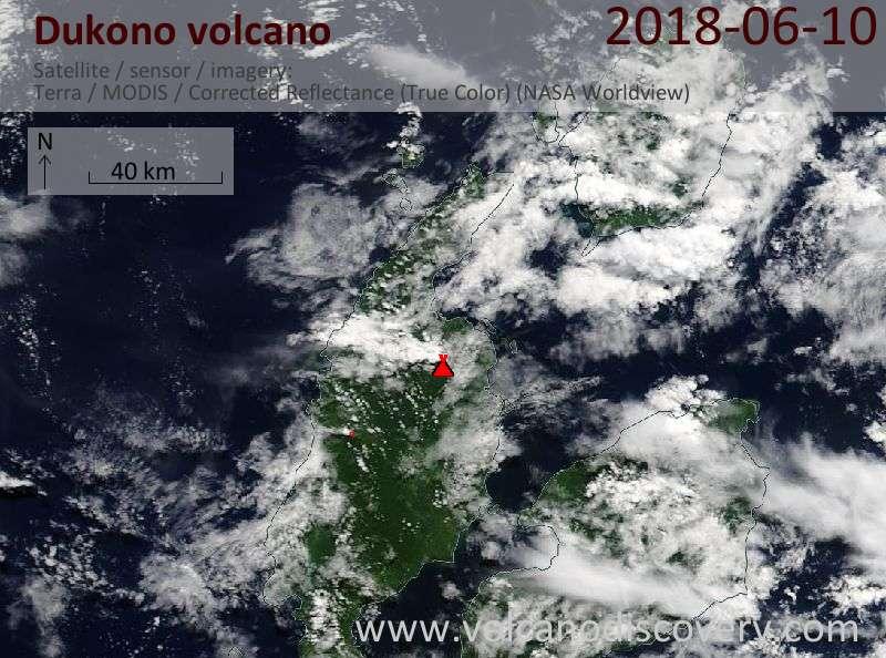 Satellite image of Dukono volcano on 10 Jun 2018