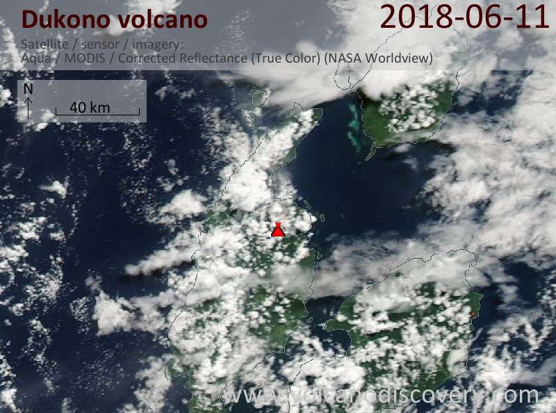 Satellite image of Dukono volcano on 11 Jun 2018