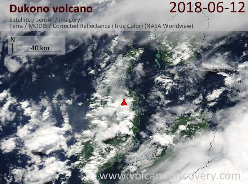 Satellite image of Dukono volcano on 12 Jun 2018