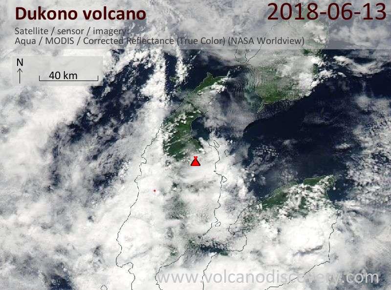Satellite image of Dukono volcano on 13 Jun 2018