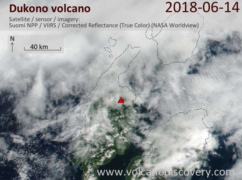 Satellite image of Dukono volcano on 14 Jun 2018