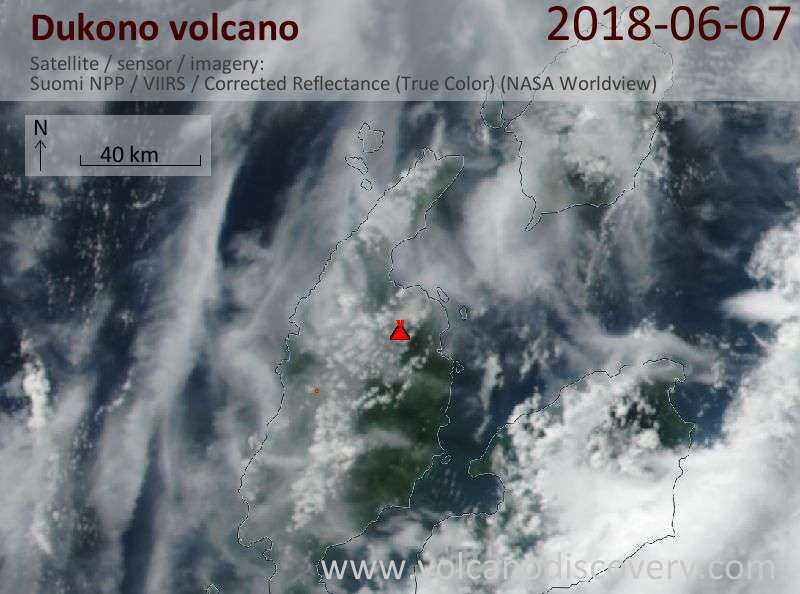 Satellite image of Dukono volcano on  7 Jun 2018