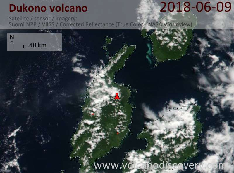 Satellite image of Dukono volcano on  9 Jun 2018