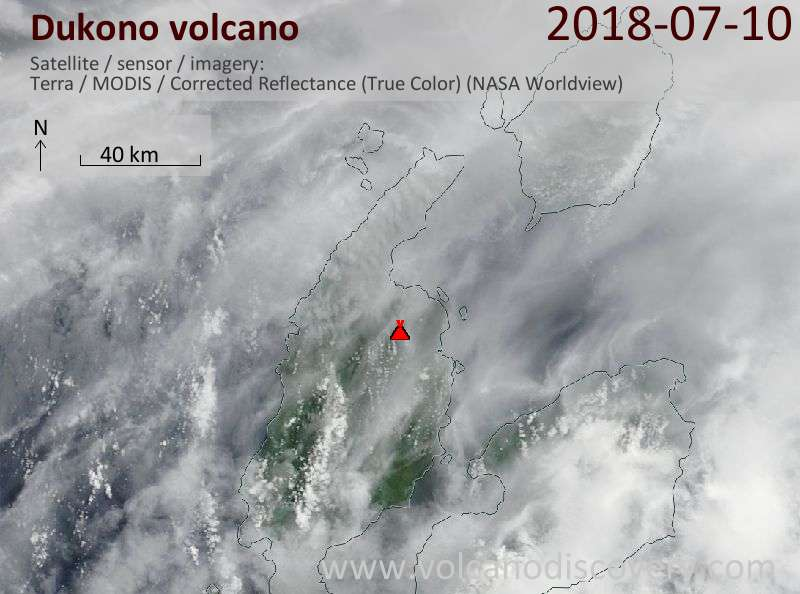 Satellite image of Dukono volcano on 10 Jul 2018