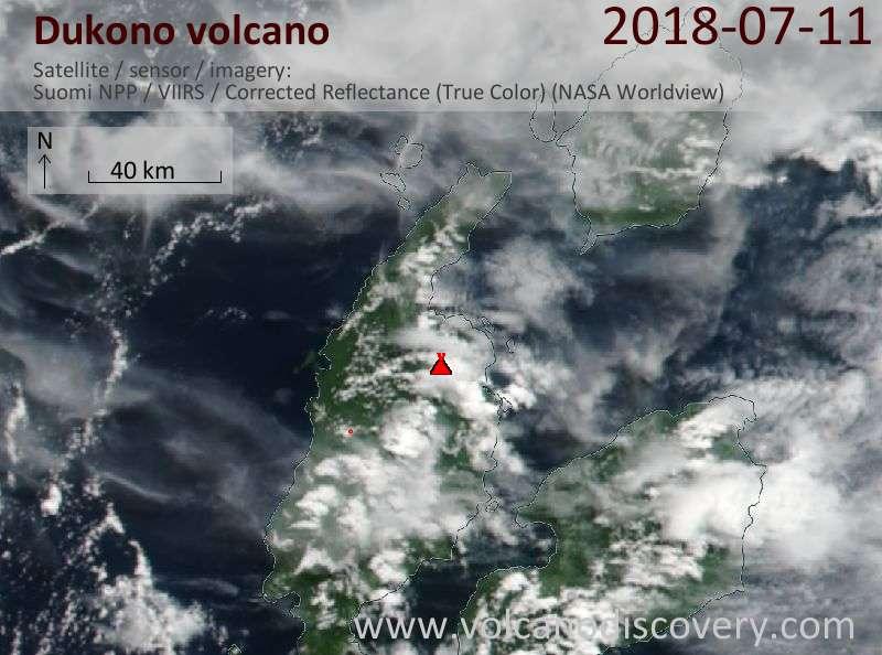Satellite image of Dukono volcano on 11 Jul 2018