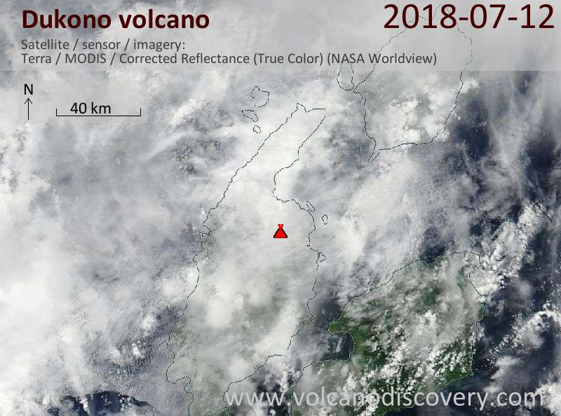 Satellite image of Dukono volcano on 12 Jul 2018