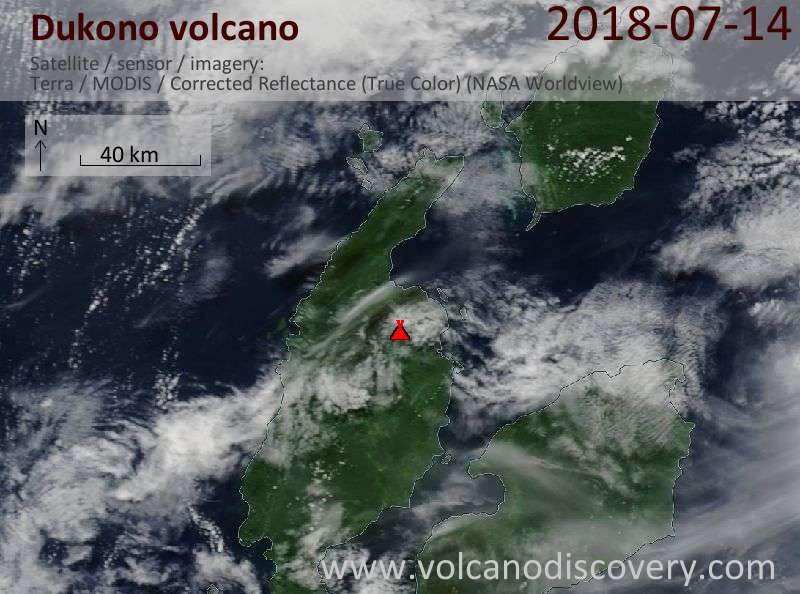 Satellite image of Dukono volcano on 14 Jul 2018