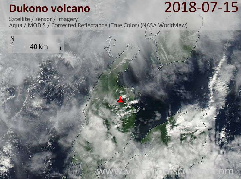 Satellite image of Dukono volcano on 15 Jul 2018