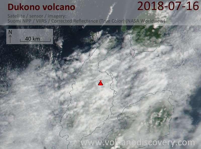 Satellite image of Dukono volcano on 16 Jul 2018
