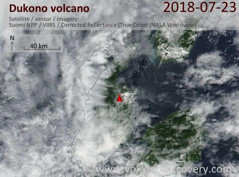 Satellite image of Dukono volcano on 23 Jul 2018