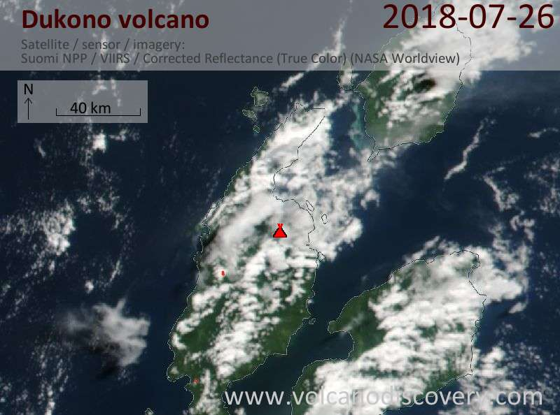Satellite image of Dukono volcano on 26 Jul 2018