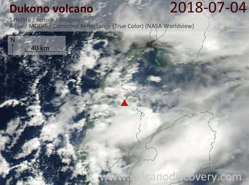 Satellite image of Dukono volcano on  4 Jul 2018