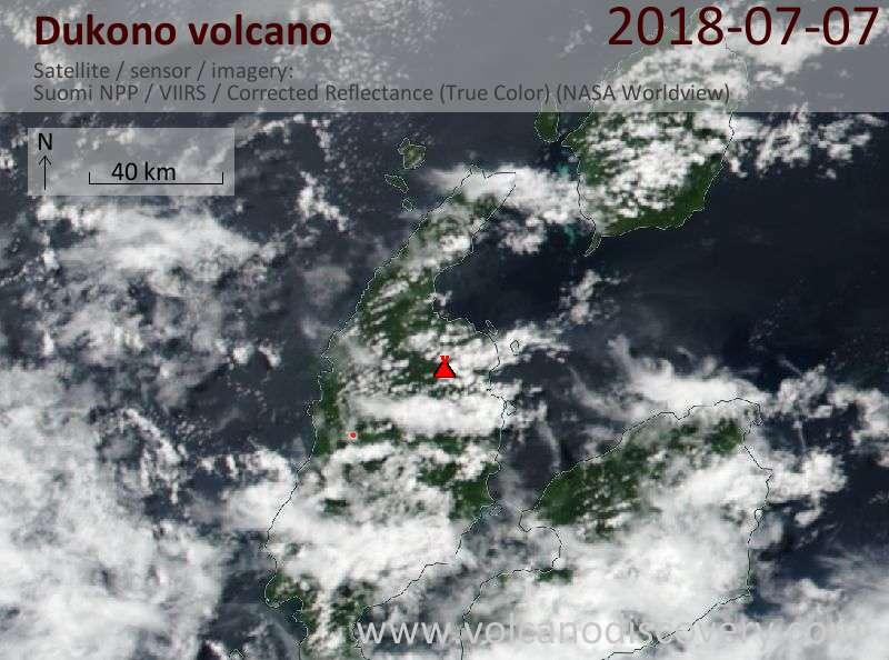 Satellite image of Dukono volcano on  7 Jul 2018