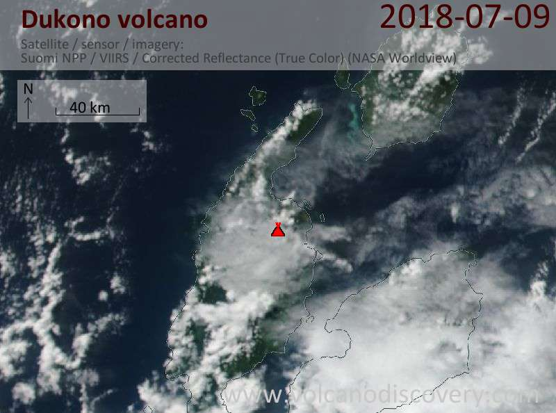 Satellite image of Dukono volcano on  9 Jul 2018