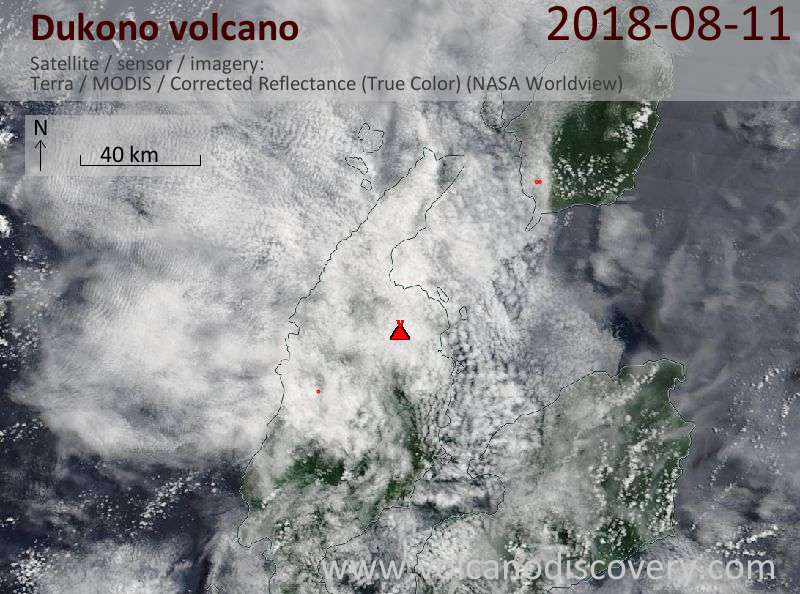 Satellite image of Dukono volcano on 11 Aug 2018