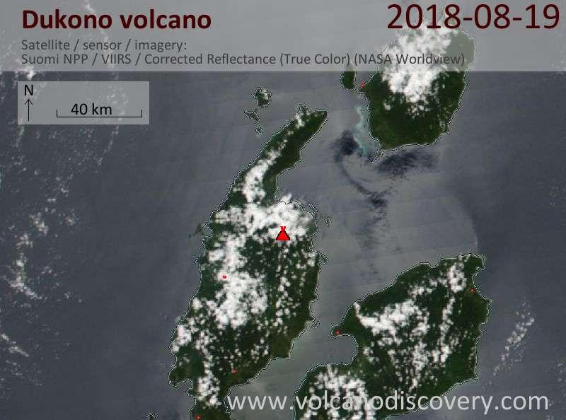 Satellite image of Dukono volcano on 19 Aug 2018