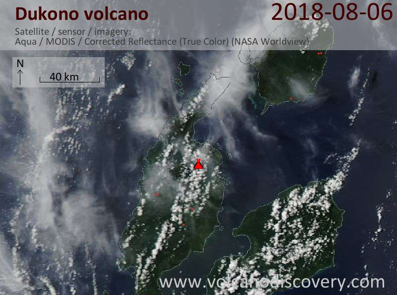 Satellite image of Dukono volcano on  6 Aug 2018