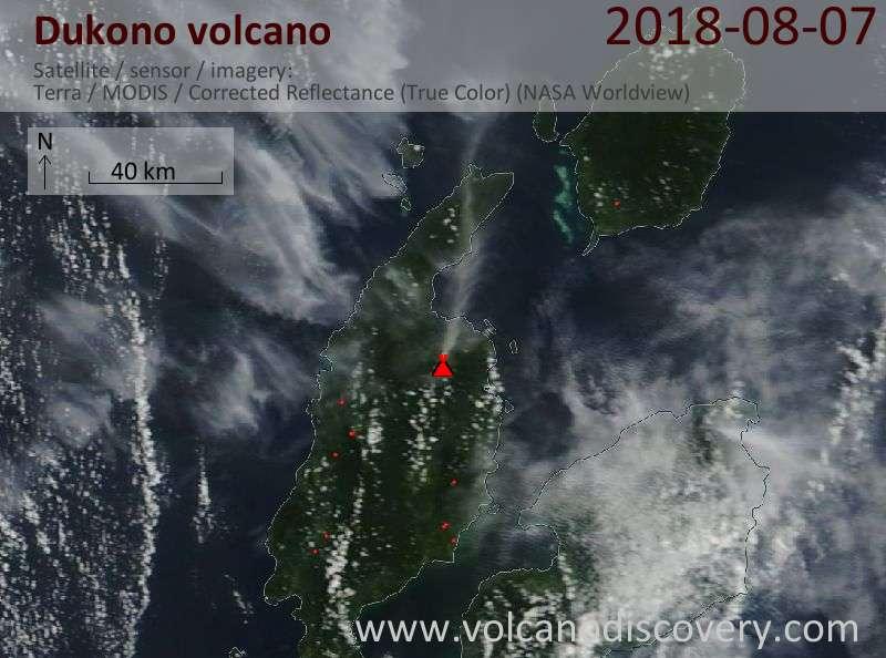 Satellite image of Dukono volcano on  7 Aug 2018