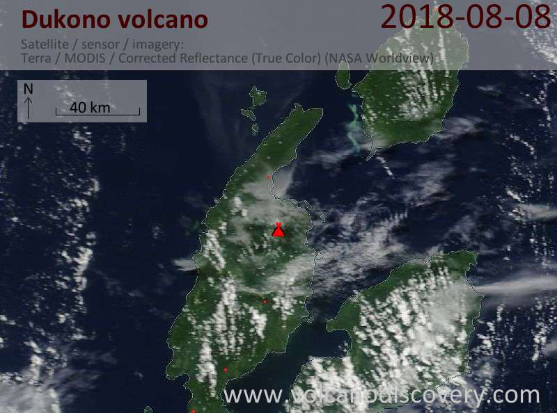 Satellite image of Dukono volcano on  8 Aug 2018