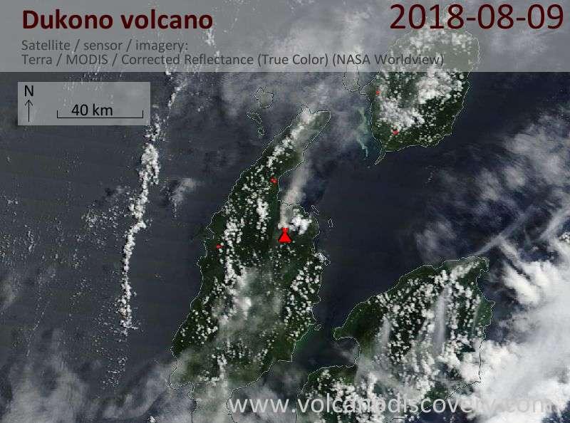 Satellite image of Dukono volcano on  9 Aug 2018