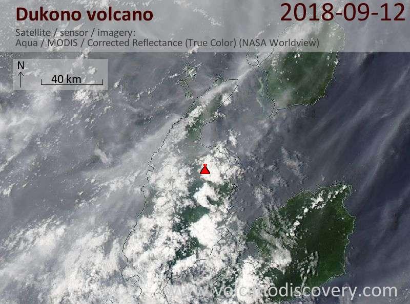 Satellite image of Dukono volcano on 12 Sep 2018