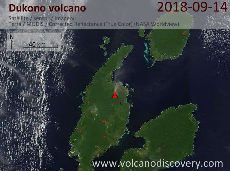 Satellite image of Dukono volcano on 14 Sep 2018