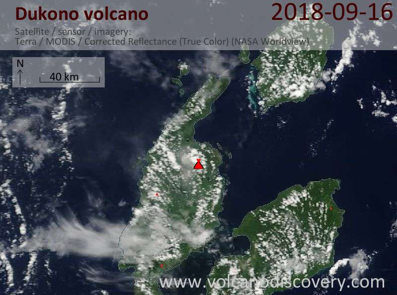 Satellite image of Dukono volcano on 16 Sep 2018