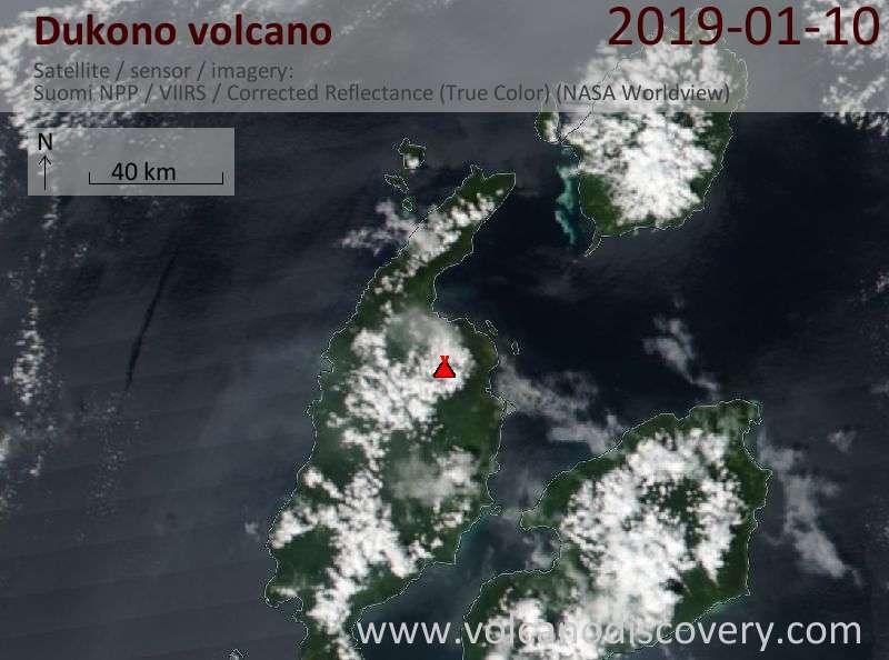 Satellite image of Dukono volcano on 10 Jan 2019