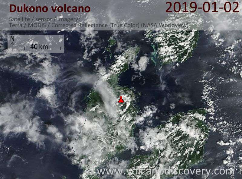 Satellite image of Dukono volcano on  2 Jan 2019