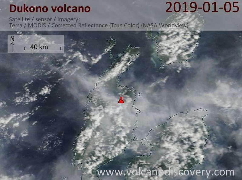 Satellite image of Dukono volcano on  5 Jan 2019