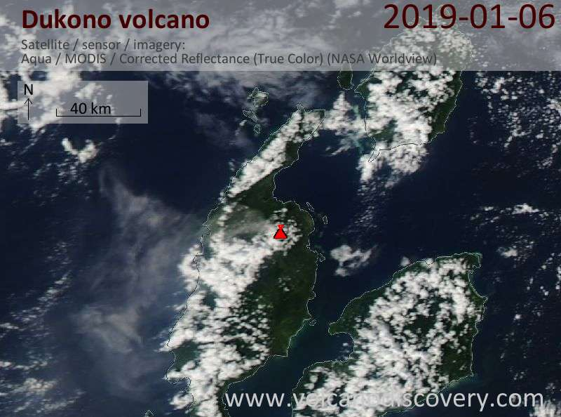 Satellite image of Dukono volcano on  6 Jan 2019