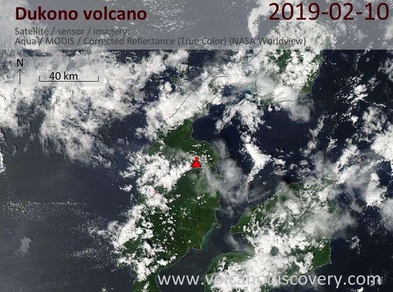 Satellite image of Dukono volcano on 10 Feb 2019