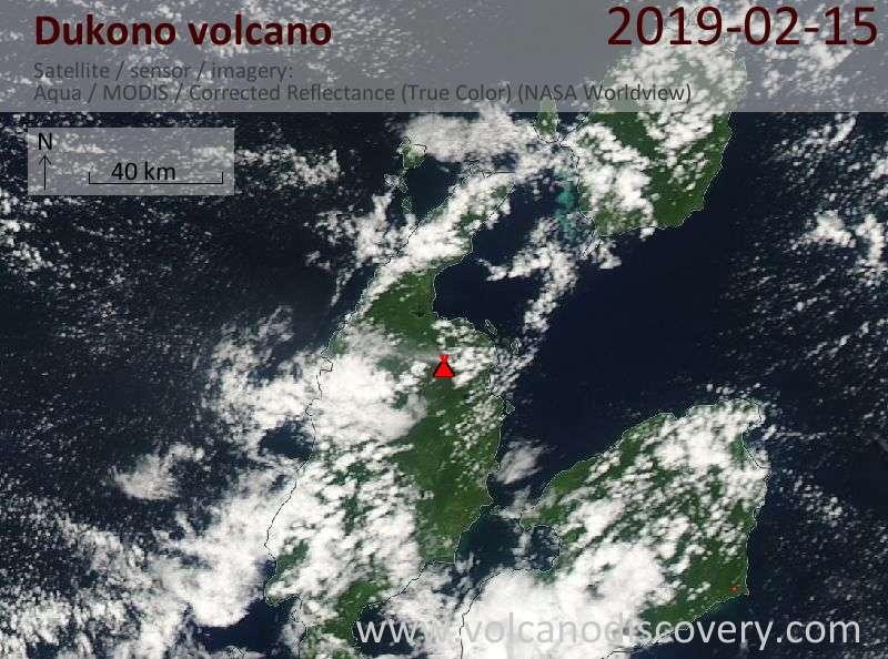 Satellite image of Dukono volcano on 15 Feb 2019