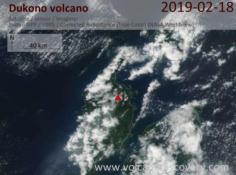 Satellite image of Dukono volcano on 19 Feb 2019