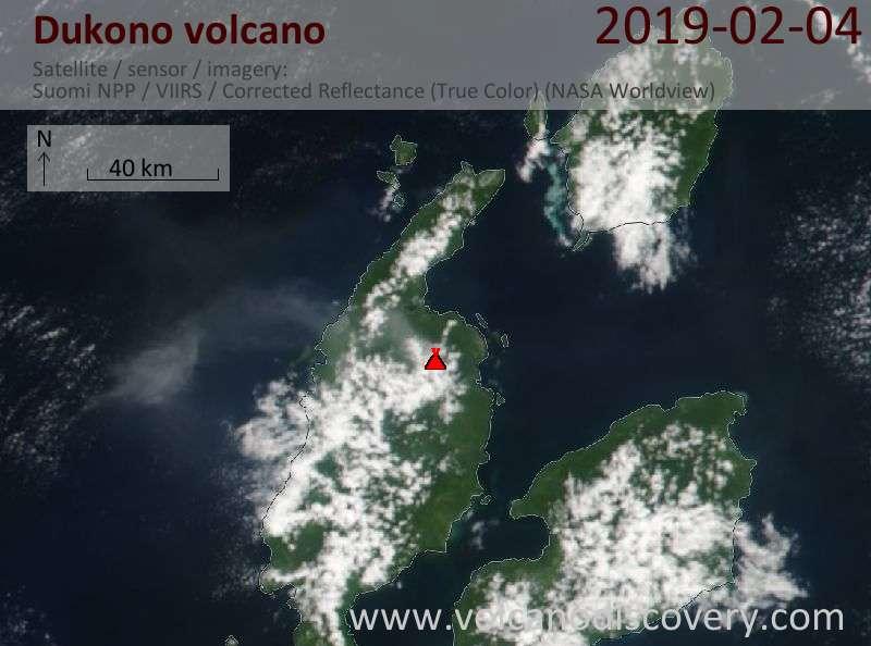 Satellite image of Dukono volcano on  4 Feb 2019