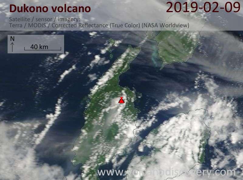 Satellite image of Dukono volcano on  9 Feb 2019
