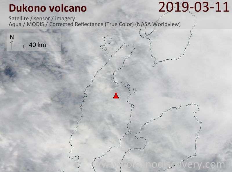 Satellite image of Dukono volcano on 12 Mar 2019