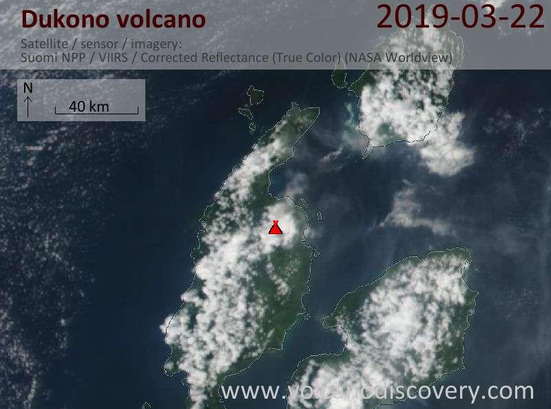 Satellitenbild des Dukono Vulkans am 22 Mar 2019